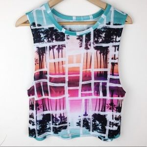 Decree Mosaic Palm Print Muscle Crop Tee